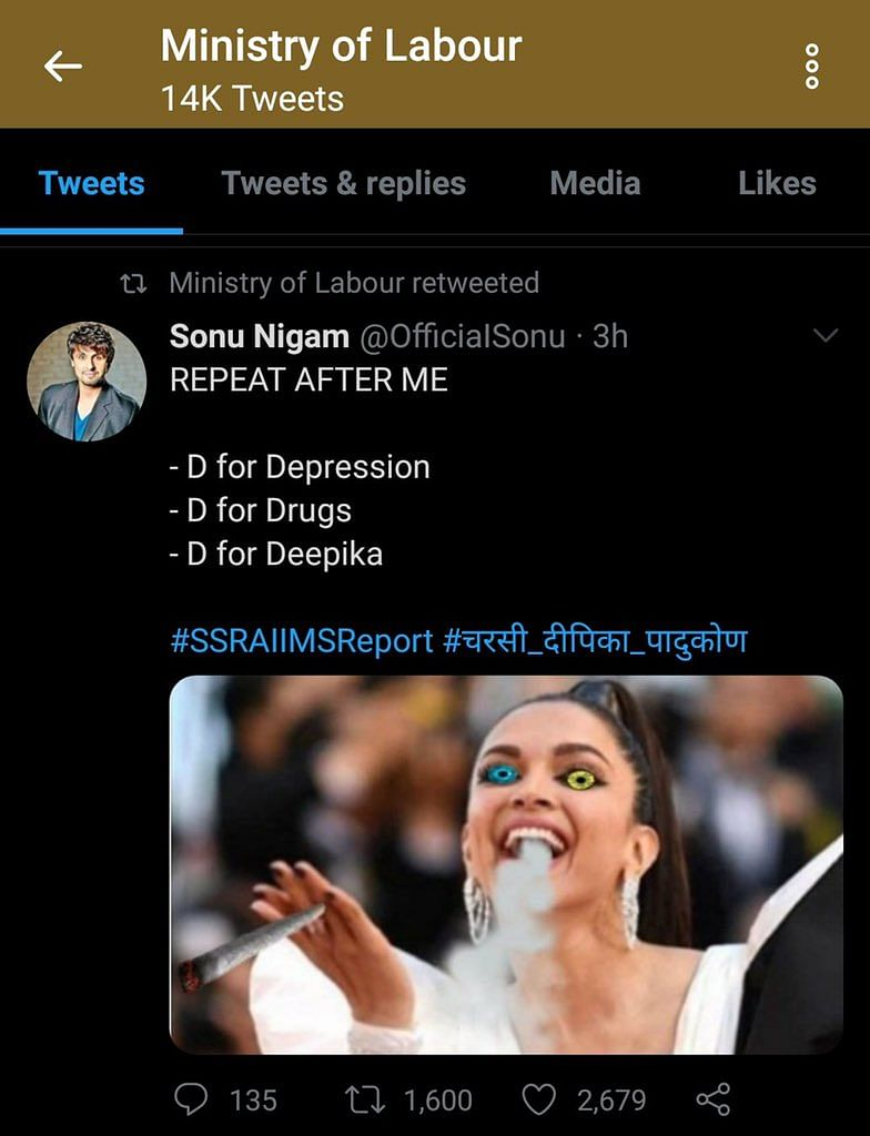 'D for depression, D for drugs...': Labour Ministry RTs photo-shopped pic of Deepika Padukone, deletes later