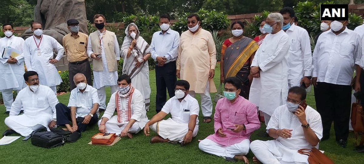 Parliament monsoon session: Rajya Sabha adjourned; 8 suspended MPs hold protest in Parliament premises
