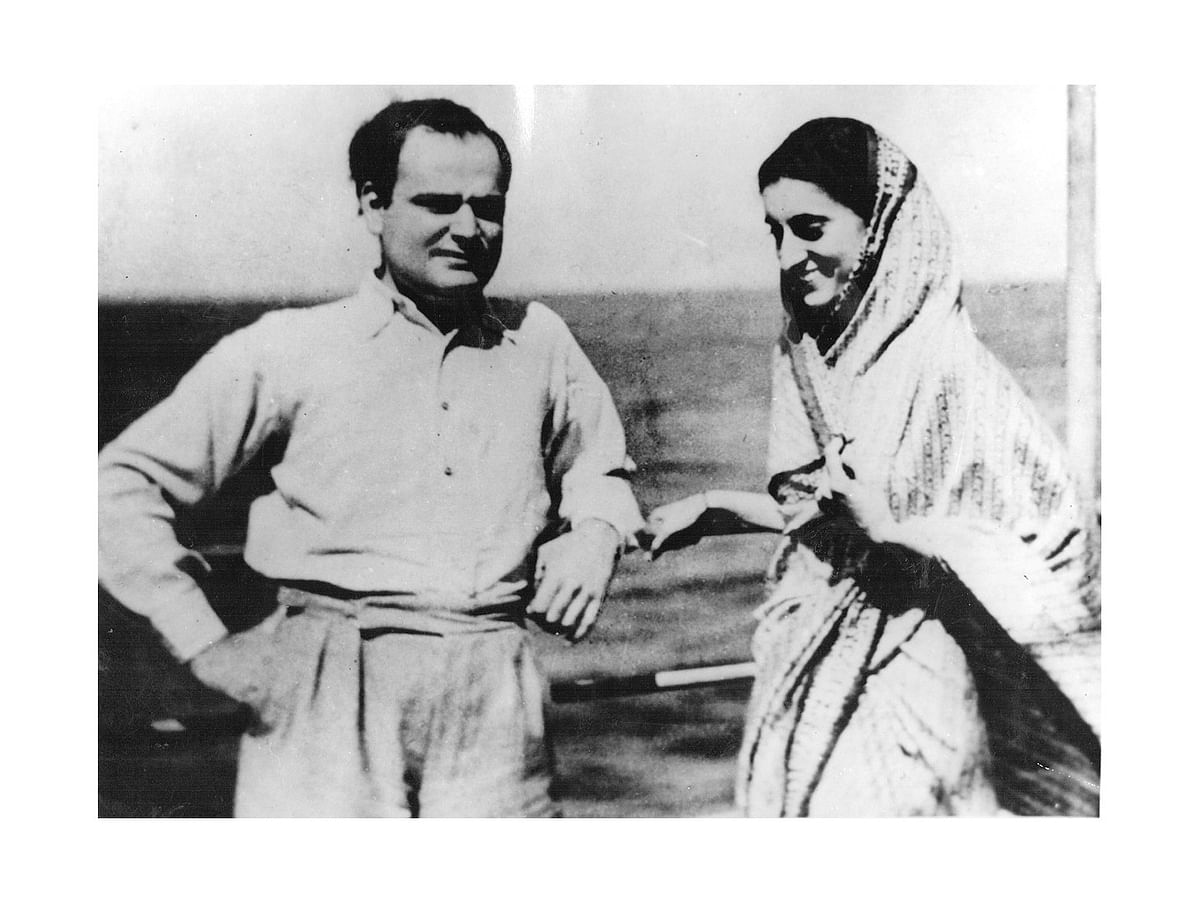 Feroze and Indira Nehru on their way back to India from Europe.