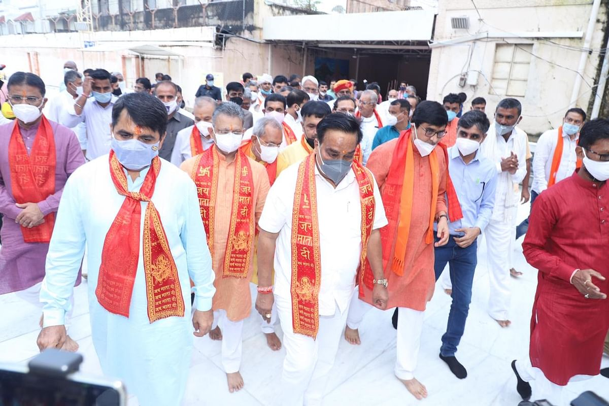 BJP Gujarat President CR Patil coming out of Ambaji Temple, along with Shankar Chaudhary, former minister of state for health, Bhikhubhai Dalsaniya, General Secretary (organisation) and others.