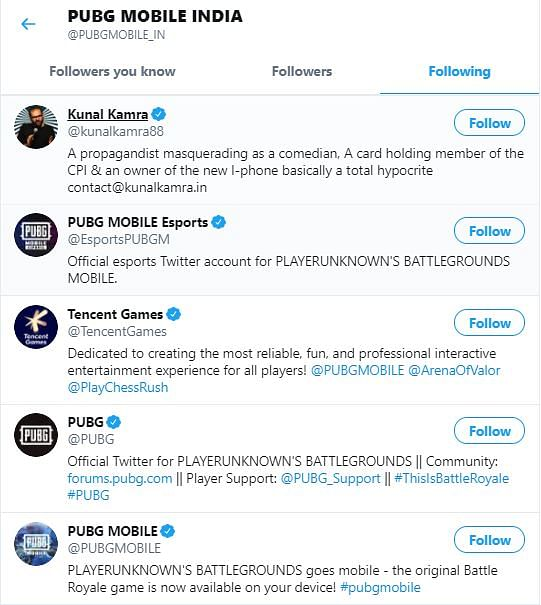 PUBG Mobile India follows only 5 accounts on Twitter, fifth is a 'propagandist masquerading as a comedian'