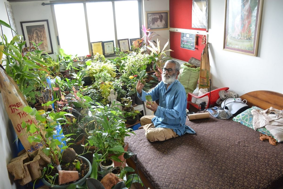 Thane:  60-year-old man builds a garden at home with over 250 saplings