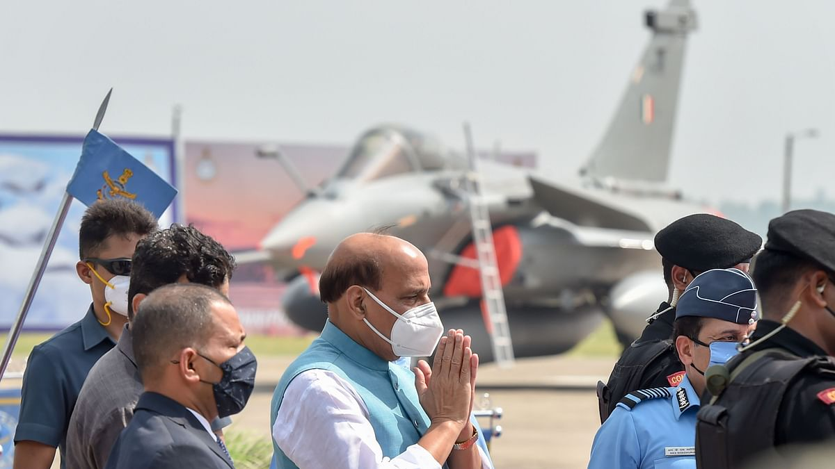 Ambala: Defence Minister Rajnath Singh during the Rafale induction ceremony, at IAF airbase in Ambala, Thursday, Sept. 10, 2020.