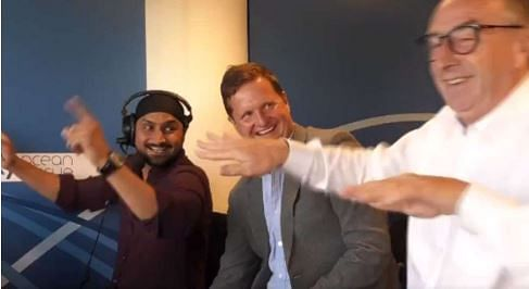 Harbhajan during his days in the commentary box. Here Bhaji is making veteran commentator David 'Bumble' Llyod do the bhangra.