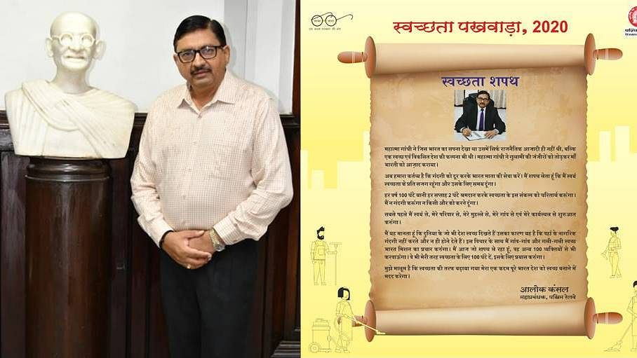 Alok Kansal, General Manager, Western Railway administers Swachchta Pledge through a webinar