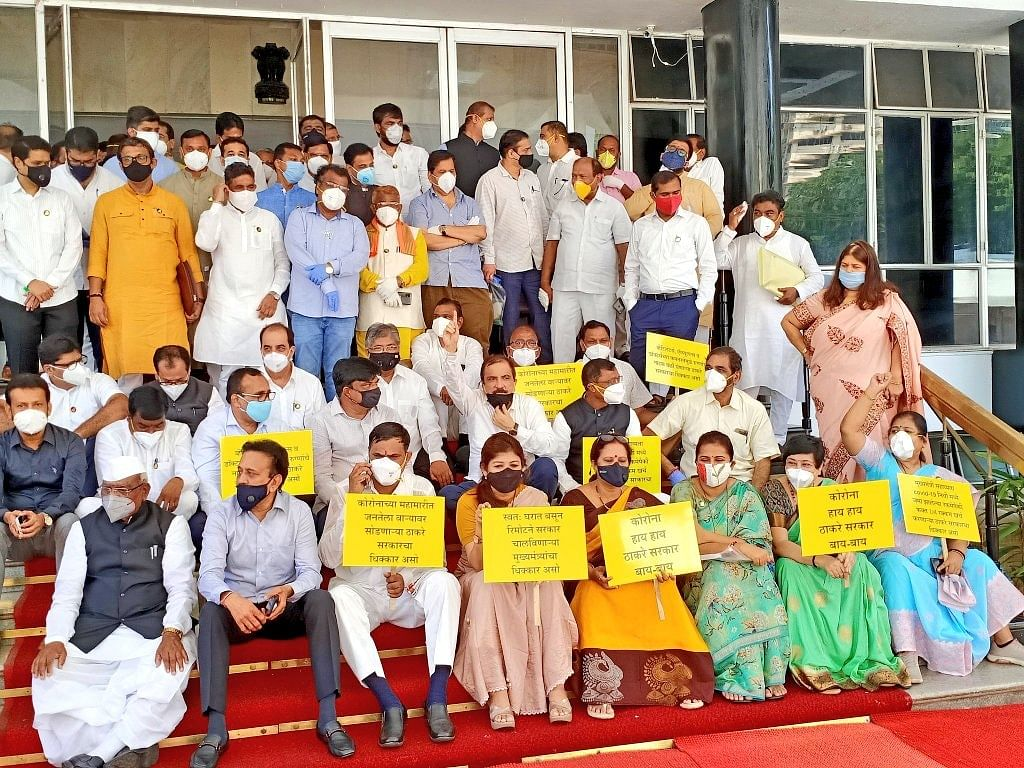BJP holds protest against MVA over COVID-19 situation; Twitter asks 'where is social distancing?'