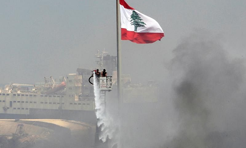Lebanon: Plumes of white smoke covers  Port of Beirut after huge explosion on Sept 10