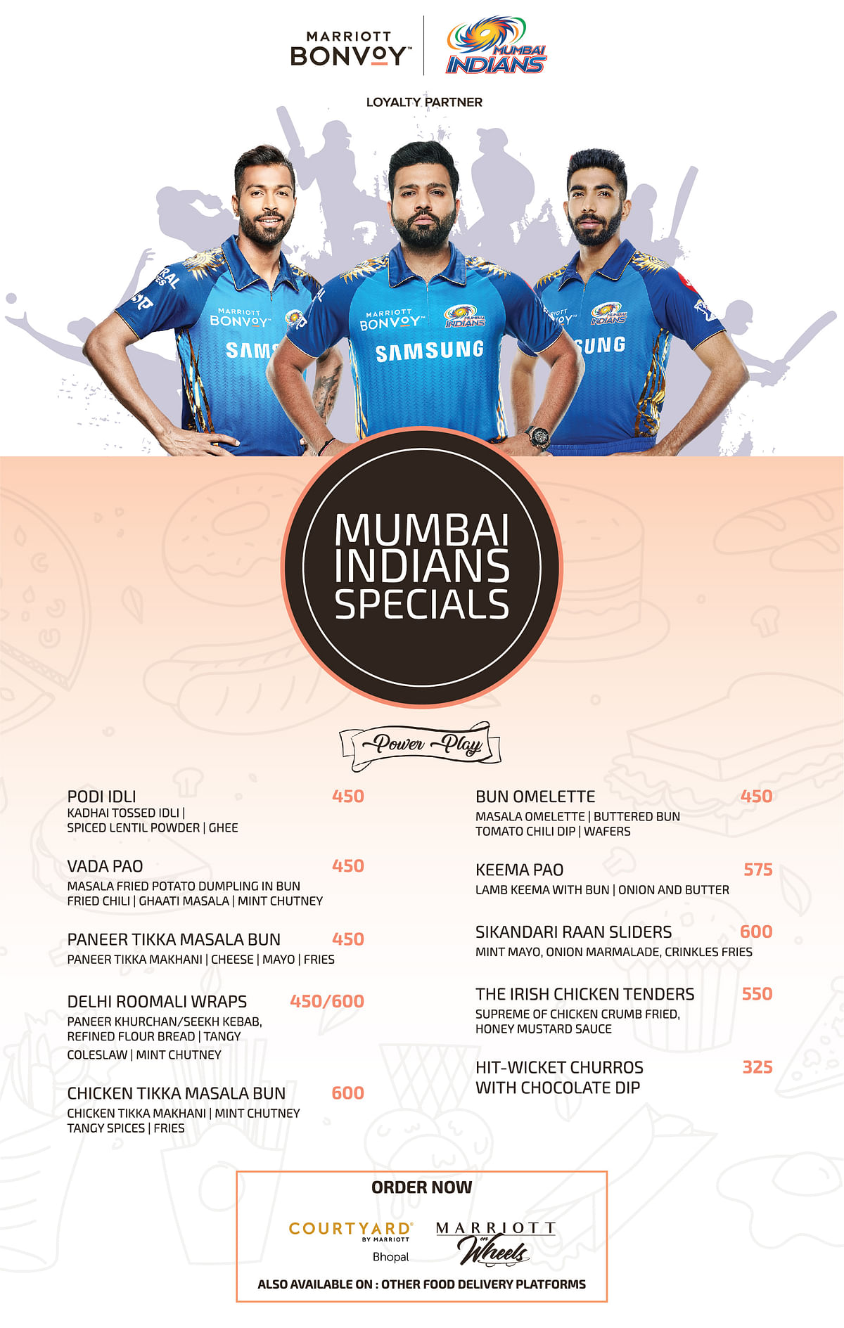 Bhopal: With the raging IPL fever, the Courtyard by Marriott serves Mumbai Indians themed meals