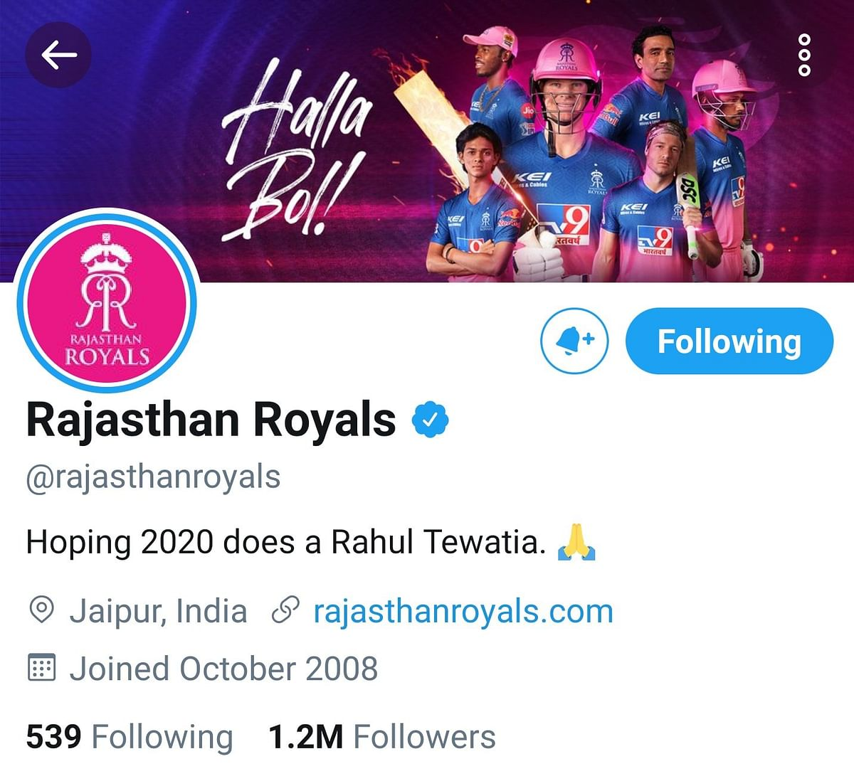 'Hoping 2020 does a Rahul Tewatia': Rajasthan Royals' on point Twitter bio