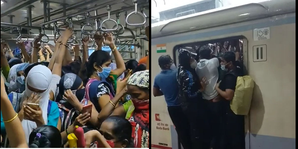 Watch: Office-goers flout social distancing norms at Borivili station as torrential rains hit Mumbai