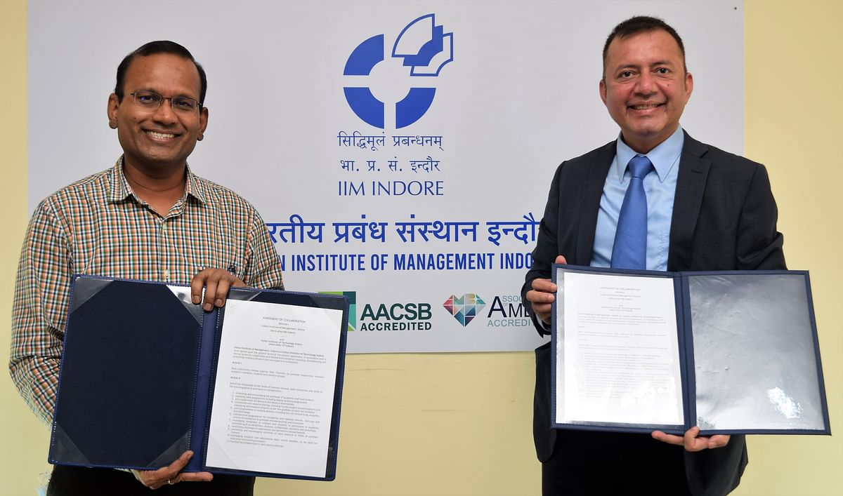 Indore: IIM-IIT join hands for research and joint programmes; ink MoU focussing on AI, Analytics and Tech