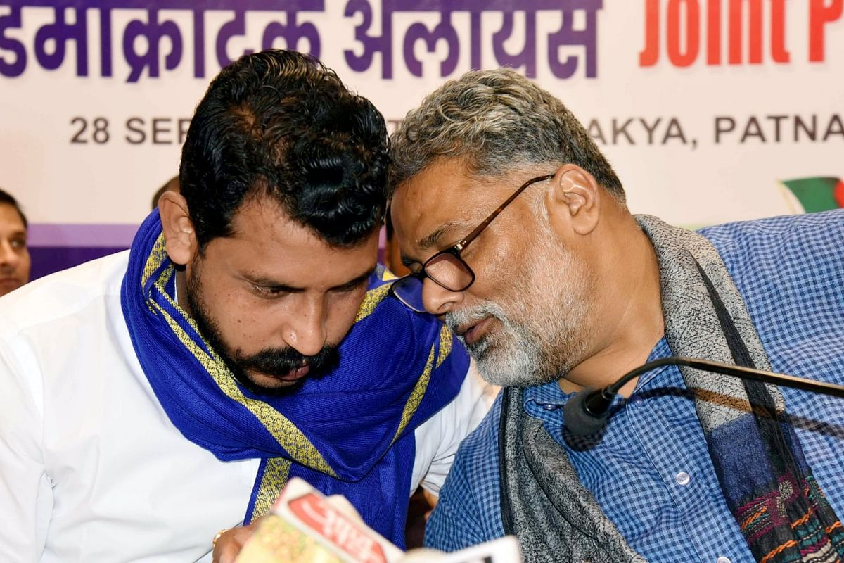 Bhim Army chief Chandrashekhar Azad with Jan Adhikar Party president Pappu Yadav during the announcement of PDA in Patna on Monday