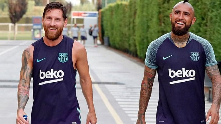 'We will cross paths again': Lionel Messi posts farewell message for Arturo Vidal as midfielder prepares to join Inter Milan