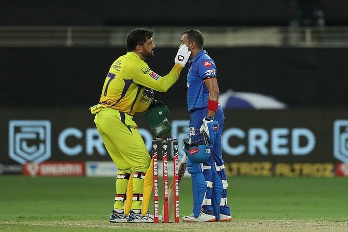 CSK captain MS Dhoni and Delhi Capitals' Prithwi Shaw during the match on Friday