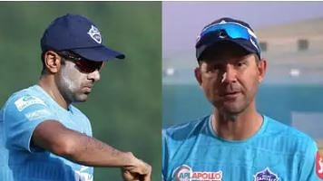 R Ashwin (L) and Ricky Ponting