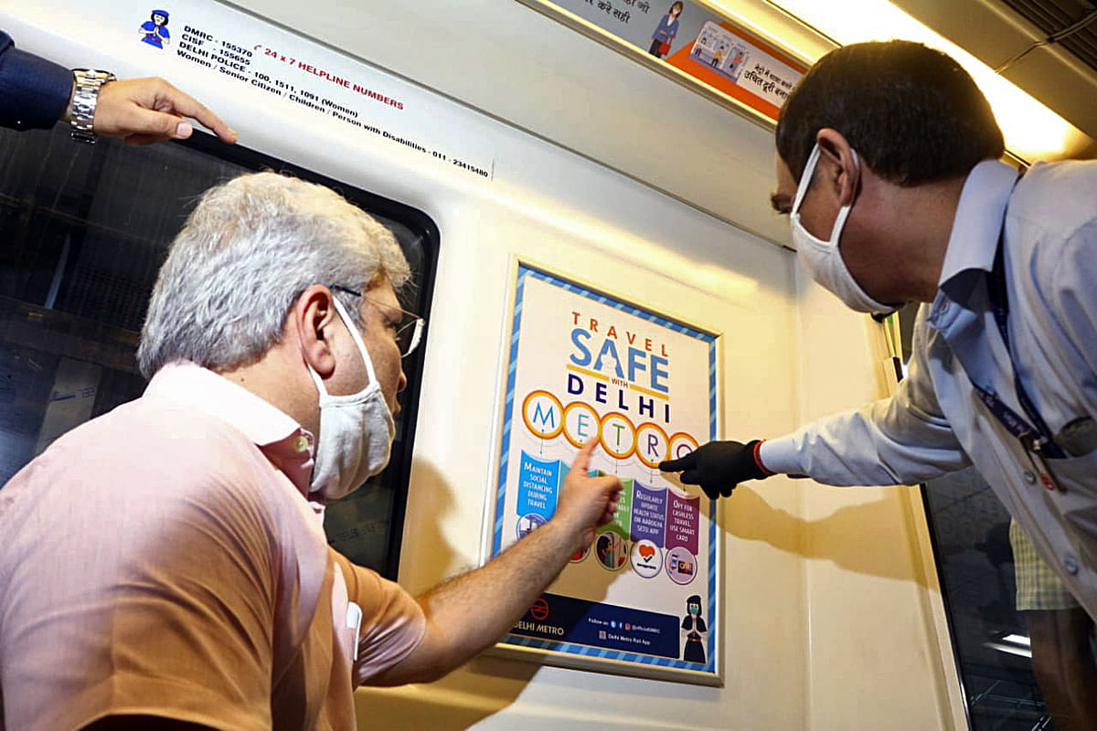 Delhi Transport Minister Kailash Gahlot visit Rajiv Chowk metro station to take stock of the preparations made by Delhi Metro Rail Corporation (DMRC) and Delhi Transport Department for the resumption of metro services in Delhi from September 7, in New Delhi on Sunday.