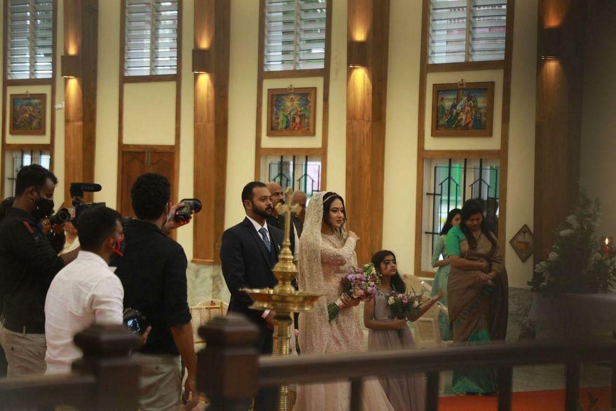 In pics: Miya George, Ashwin Philip exchange vows at a church in Kochi