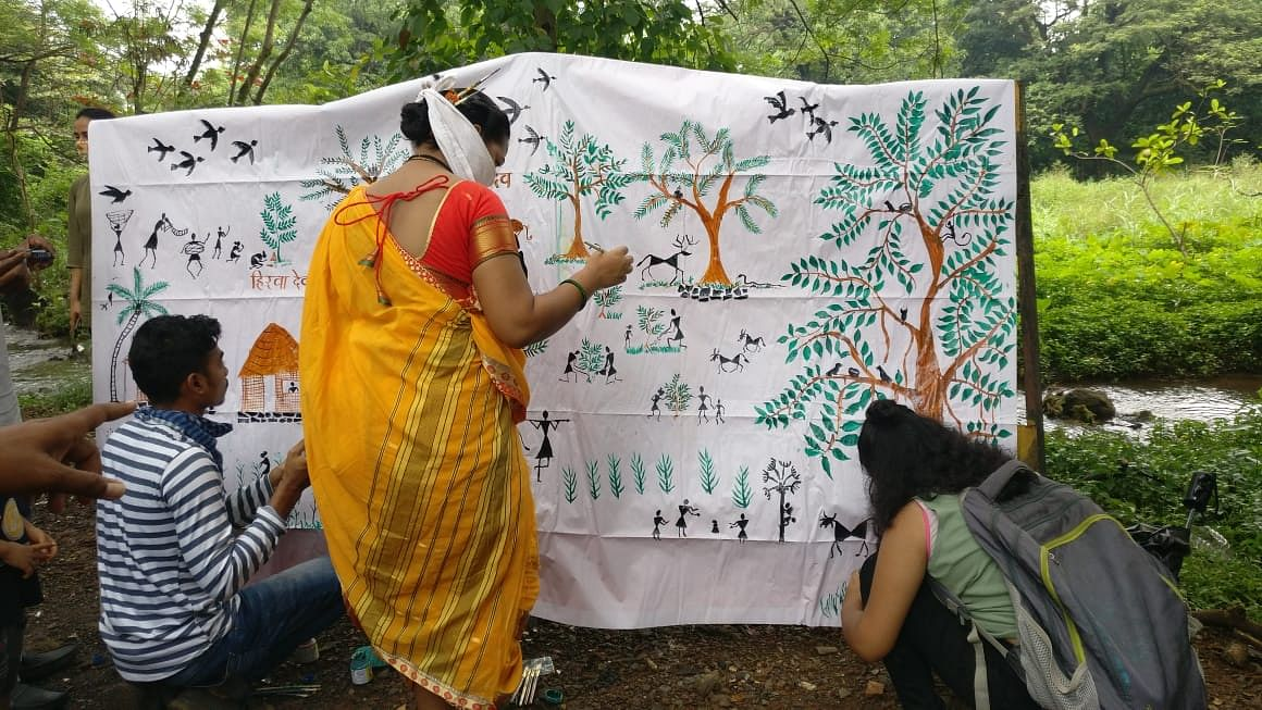 Local citizens gather at Aarey forest to commemorate the first anniversary of tree cutting incident.