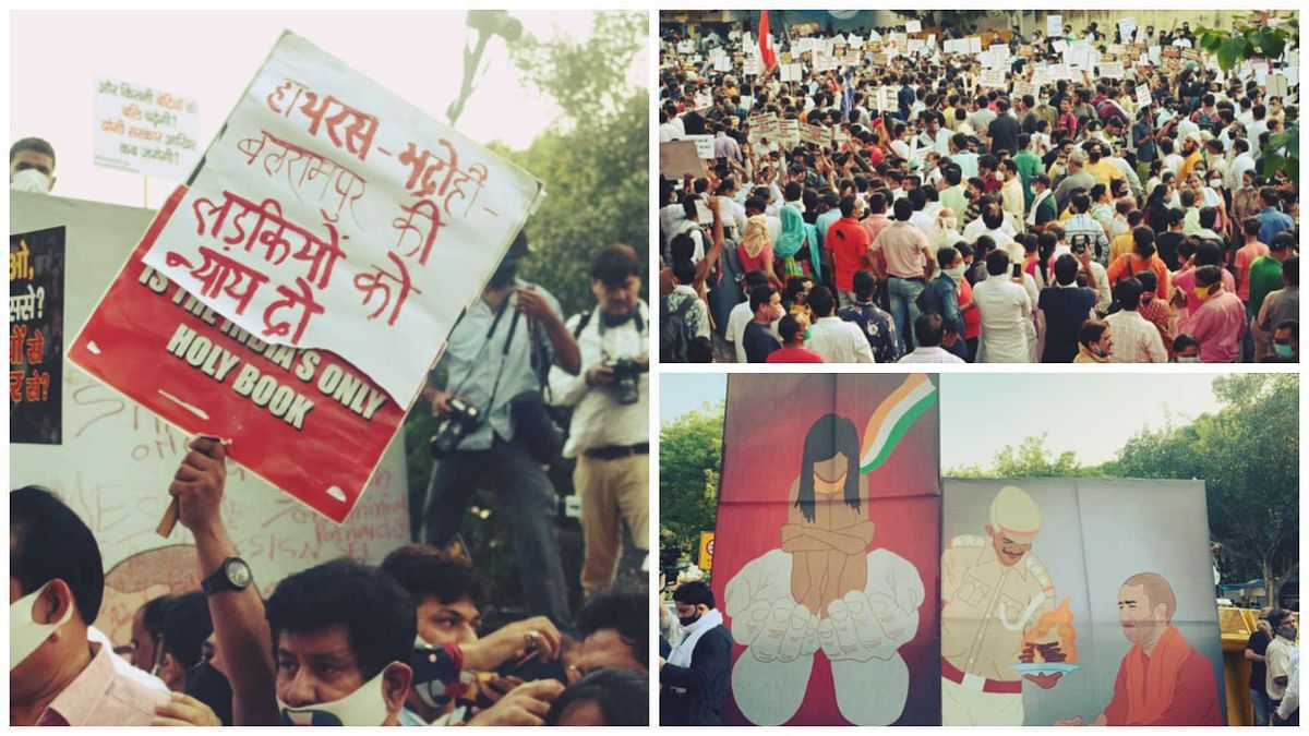 Justice for Hathras: Visuals from protest held at Jantar Mantar in Delhi