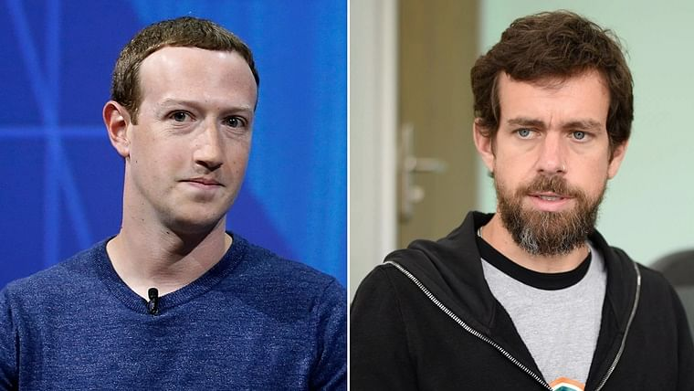 Facebook CEO Mark Zuckerberg (L) and Twitter CEO Jack Dorsey (R).