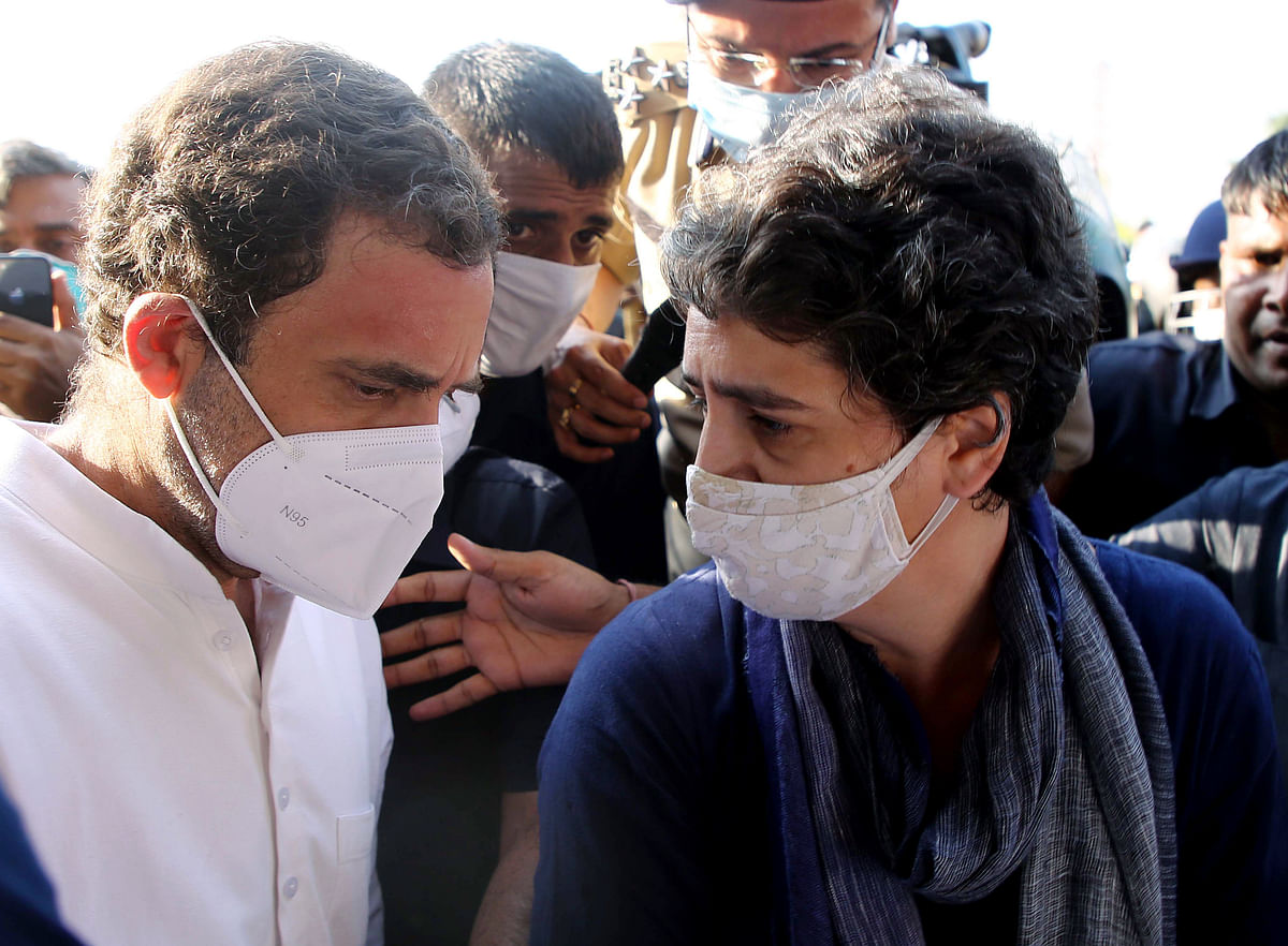 Congress leaders Priyanka Gandhi Vadra and Rahul Gandhi, at Delhi-Noida flyway on Saturday. They are on their way to meet the family of the alleged gangrape victim in Hathras (UP).