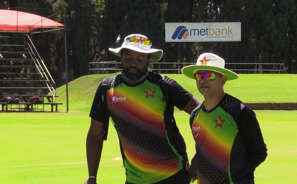 G Hondo with coach Lalchand Rajput before Zimbabwe team left for Pakistan
