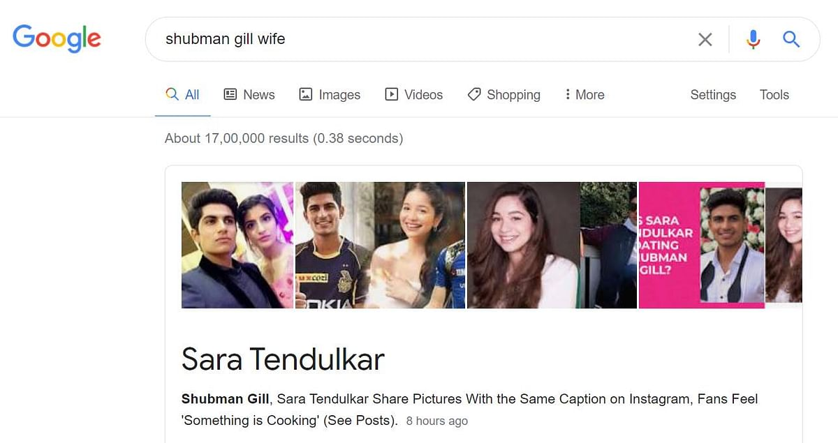 Now, a Google search for Shubman Gill's wife shows Sara Tendulkar - here's why