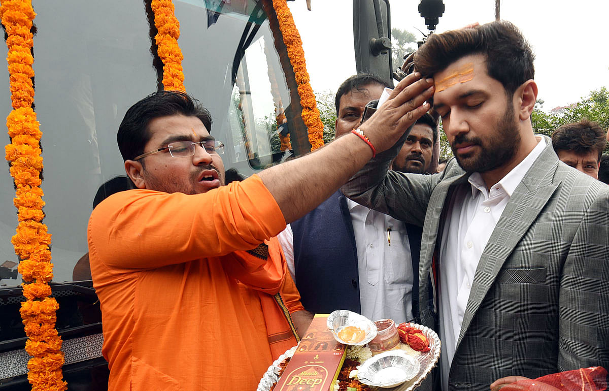 Paswan launching 'Bihar First- Bihari First' campaign at party office, in Patna