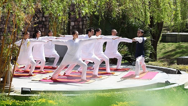 Yoga at amphitheatre