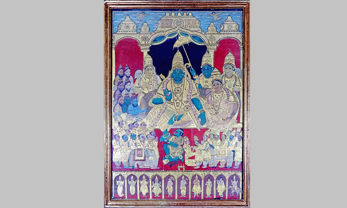 Bhopal: IGRMS exhibits classical South Indian painting 'Thanjavur Kal Ovium'