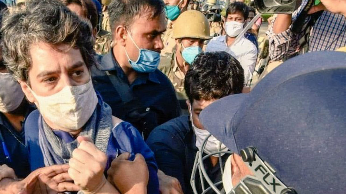 'Imagine how common women must be treated': Twitter reacts to picture of male cop grabbing Priyanka Gandhi's kurta