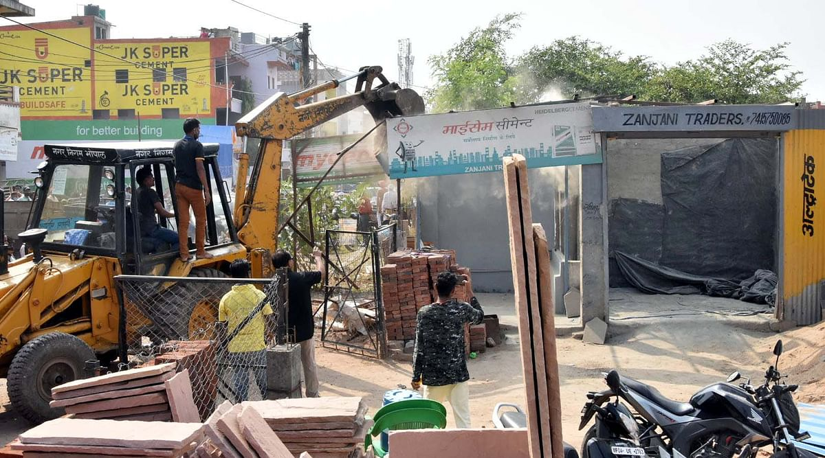 Bhopal: BMC razes encroachments on Ektapuri ground, family booked for obstructing drive, pelting stones
