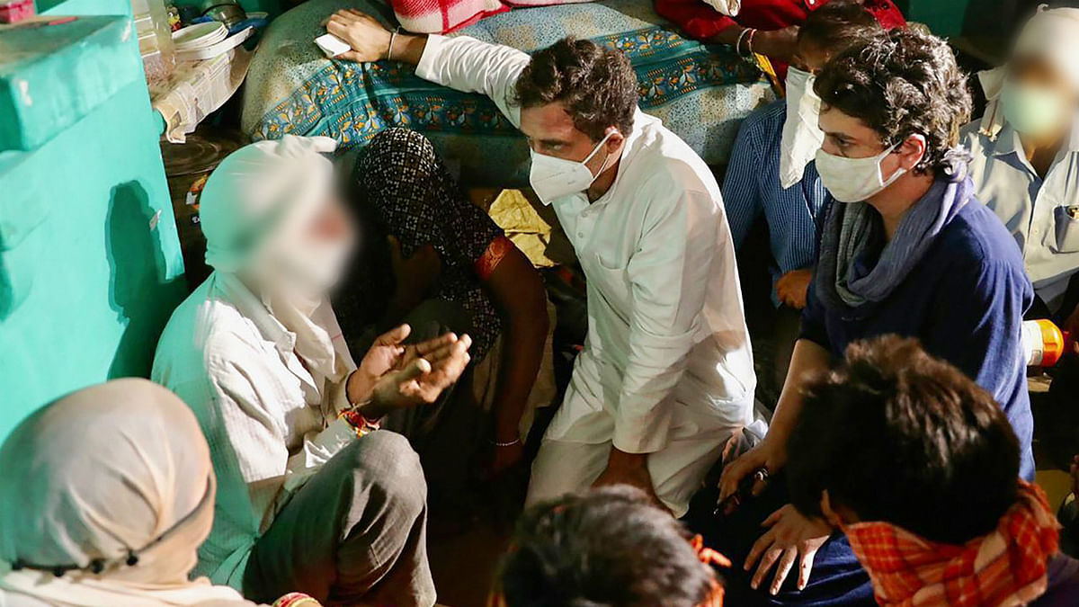 Congress leaders Priyanka Gandhi Vadra and Rahul Gandhi meet the family members of a 19-year-old Dalit woman who died after being allegedly raped two weeks ago, at Bulgadi village in Hathras