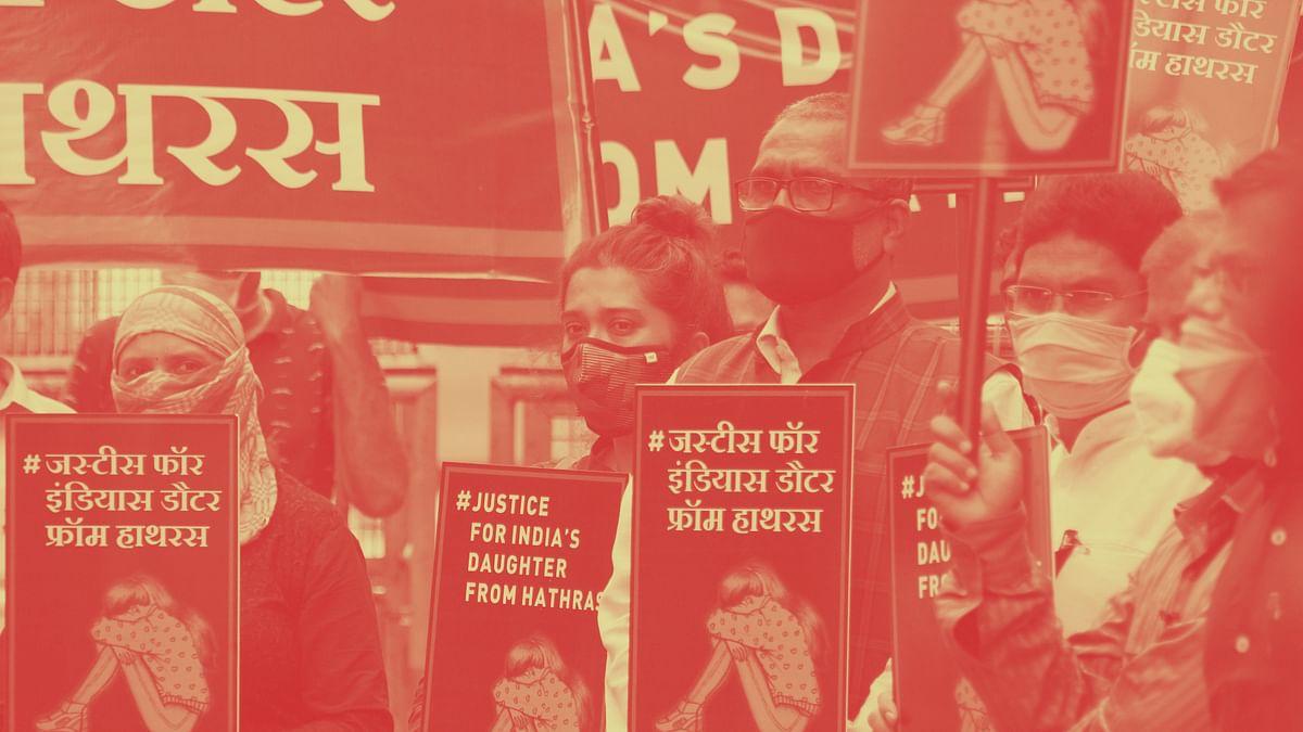 Lawyers protest against the Hathras gangrape.
