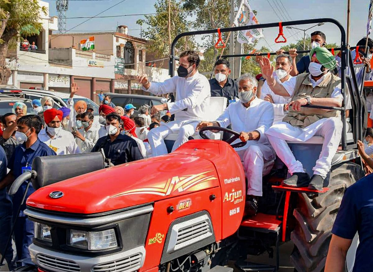 Rahul Gandhi refuses to budge after tractor rally against farm laws 'stopped on Haryana border'