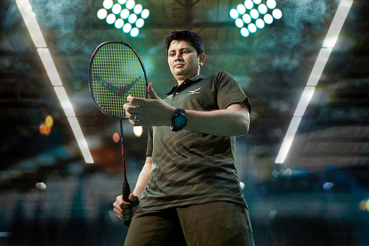 Commonwealth Games medallist shuttler Chetan Anand with Transform racquet