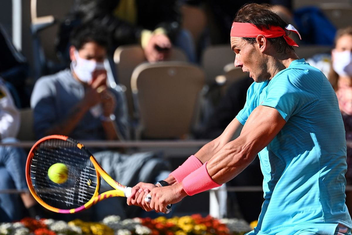 Spain's Rafael Nadal returns the ball to Argentina's Diego Schwartzman during men's singles semi-final at  Roland Garros 2020 French Open on Friday