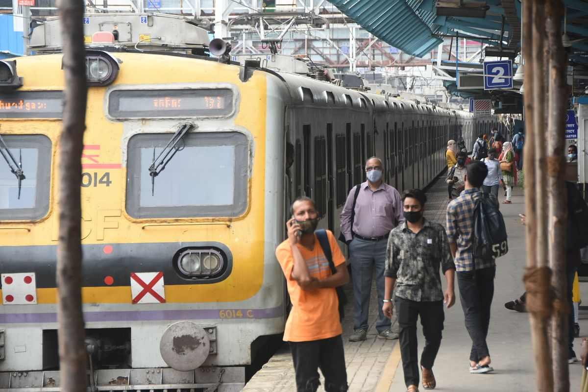 Local train stranded at  Mumbai central station due to electric supply stop for main Supplier of Mumbai electric transformer, in Mumbai on Monday, Oct 12, 2020.