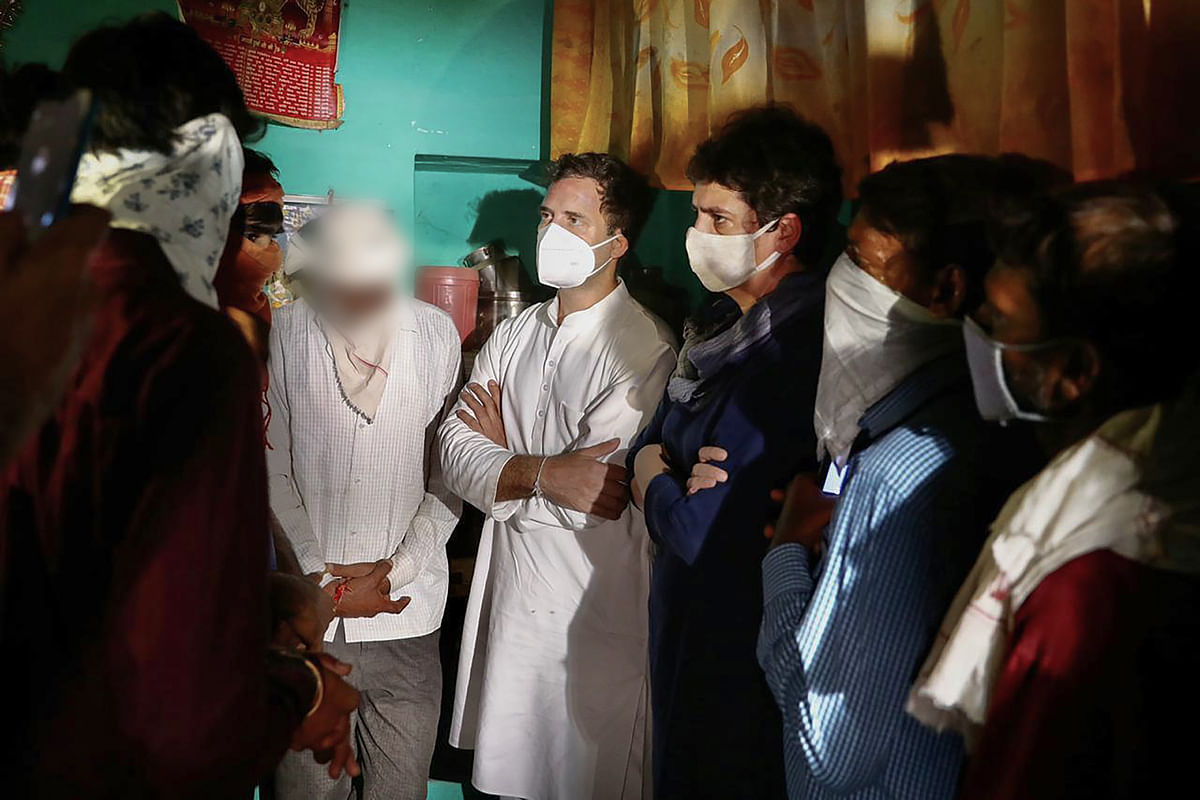 Congress leader Rahul Gandhi and Priyanka Gandhi Vadra meeting the Hathras victims family & extending the deepest condolences at village Boolgarhi in Hathras district on Saturday