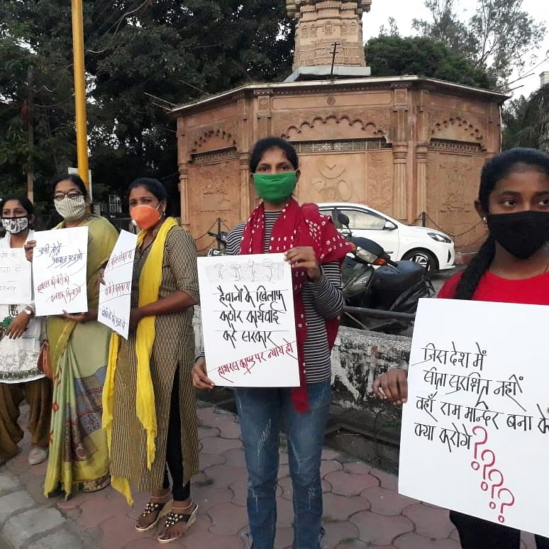 Hathras Rape Case: Women form human chain, stage mute protest in Indore