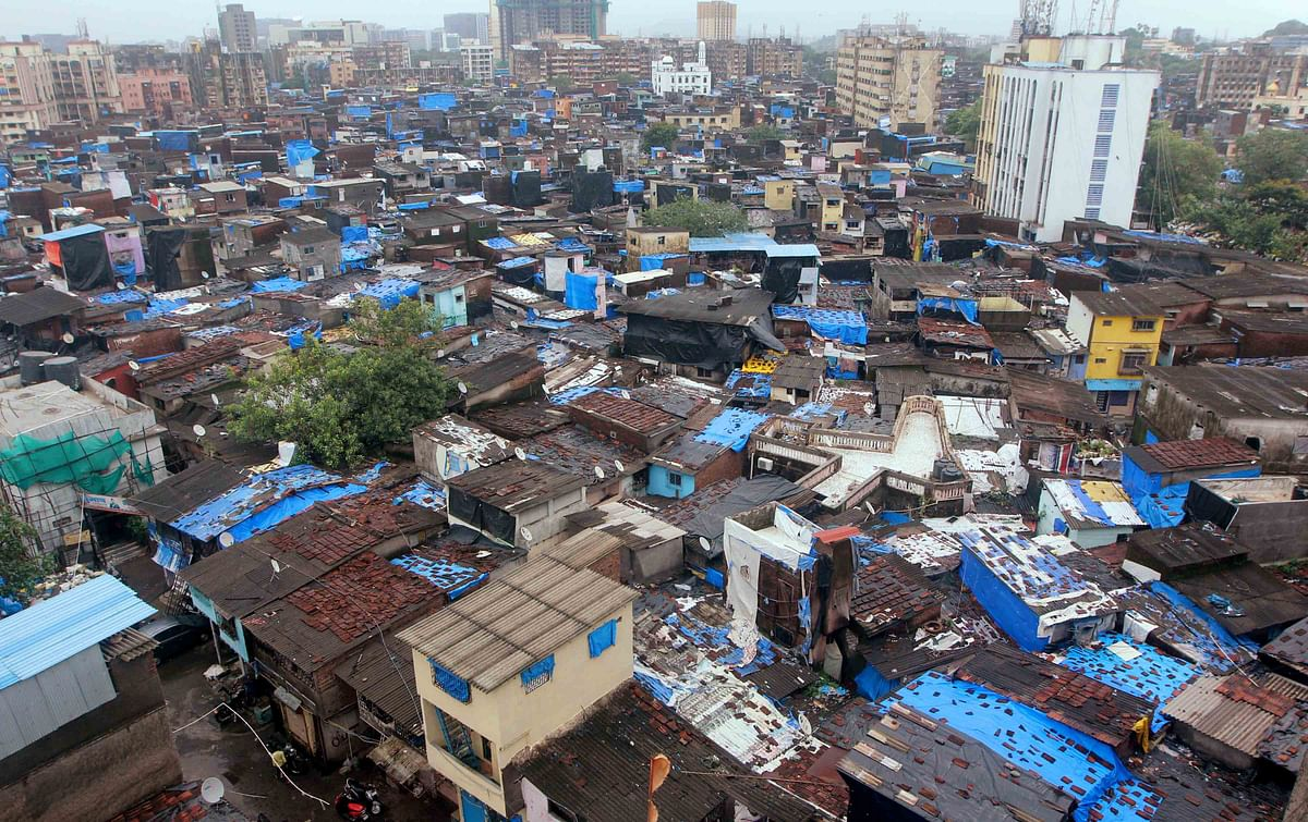 A top view of Dharavi slums in Mumbai