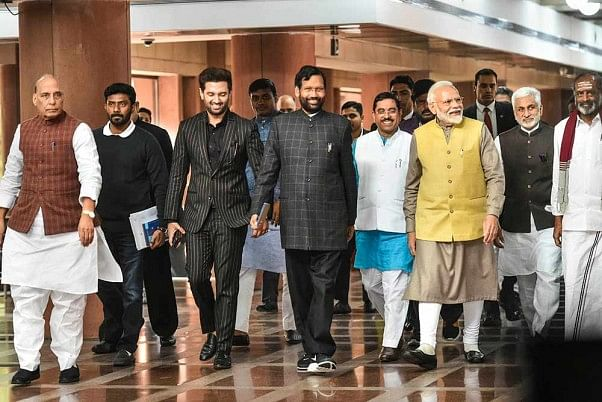 Ram Vilas Paswan with PM Modi and other NDA leaders