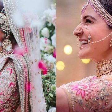 Did Neha Kakkar 'copy' Anushka Sharma's  blush pink wedding ensemble by Sabyasachi?