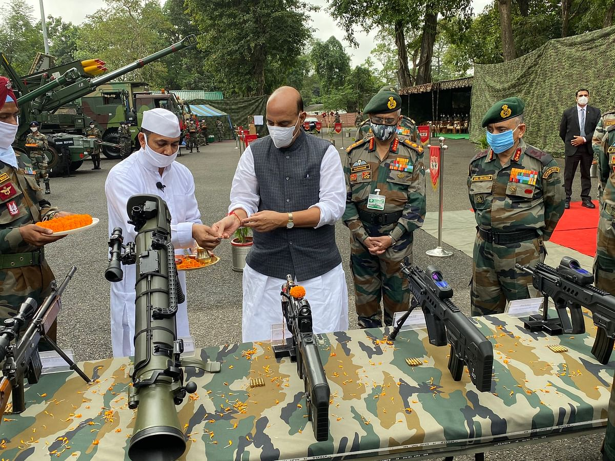 India wants end to border tension with China but will not cede an inch of land: Rajnath Singh after performing Shastra Puja