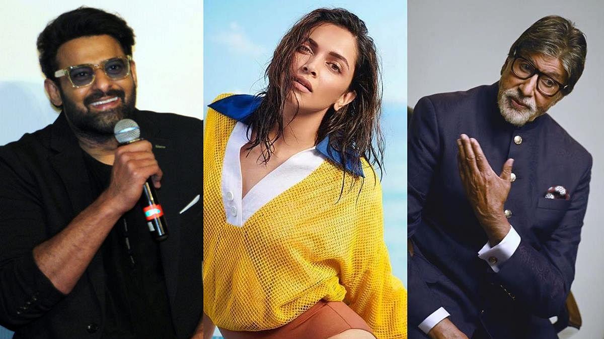 L to R - Prabhas, Deepika Padukone, Amitabh Bachchan