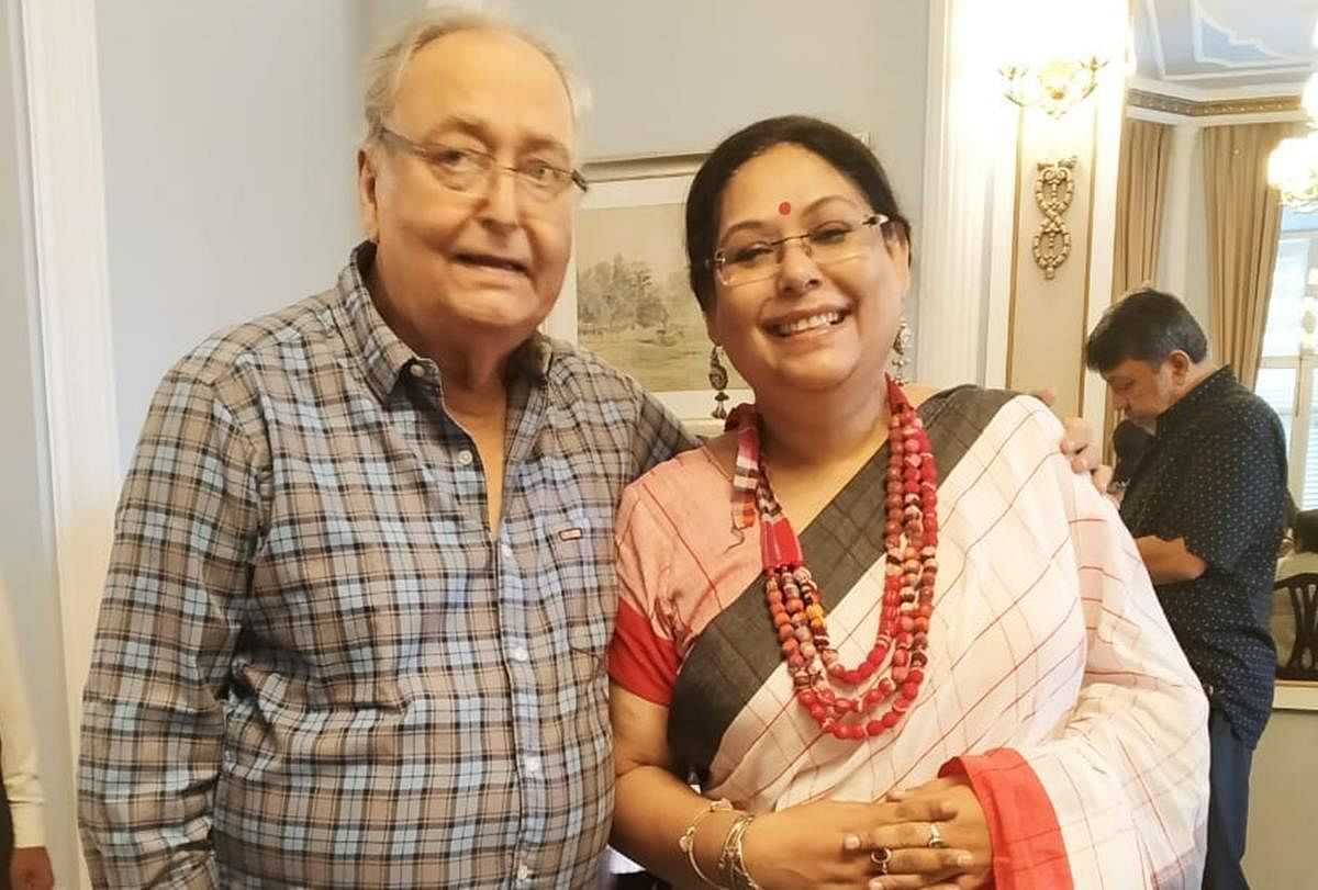 Soumitra with daughter Poulami