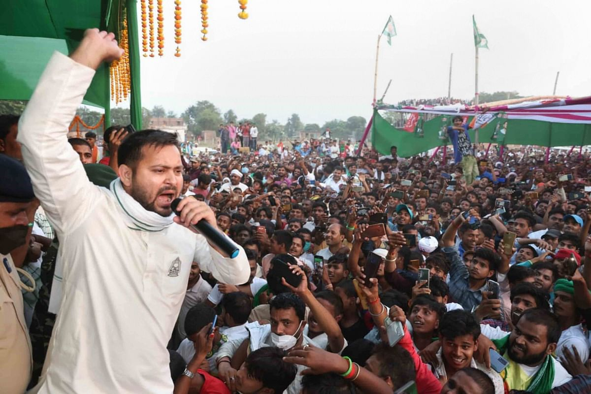 RJD leader Tejashwi Yadav addresses an election rally at Raghopur in Hajipur on Thursday.