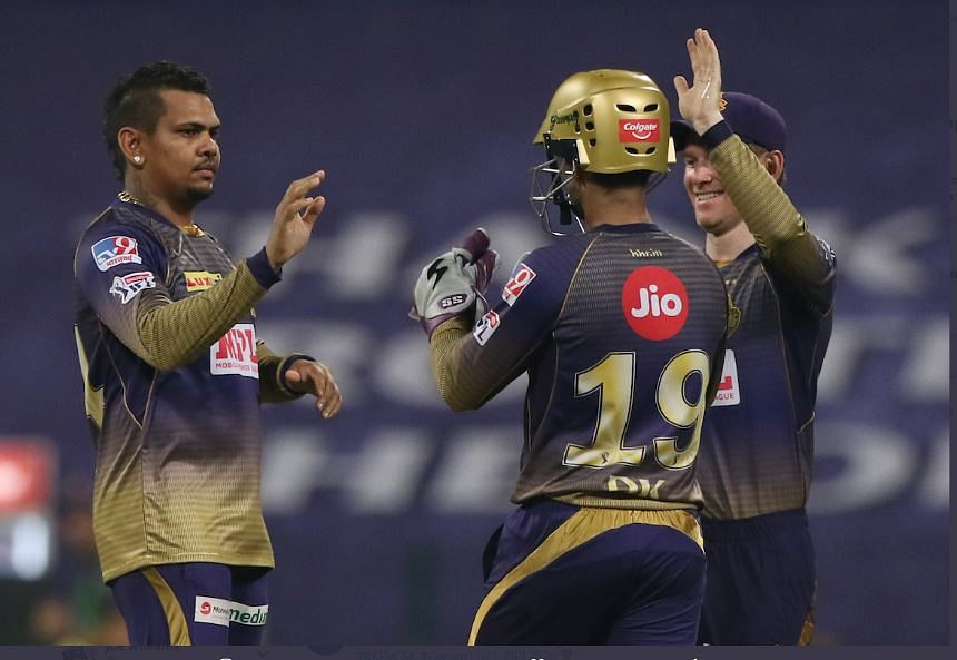Kolkata Knight Riders players celebrate after the victory