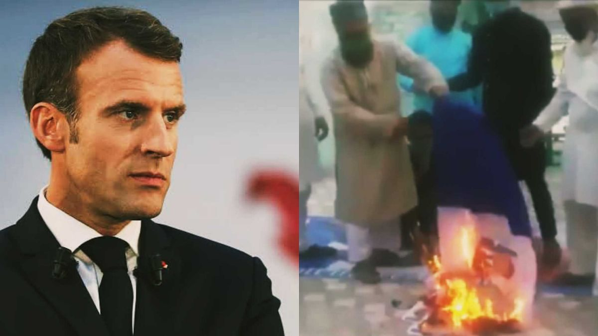 Rajasthan: Protesters burn French flag, photo of President Emmanuel Macron at dargah in Nagaur