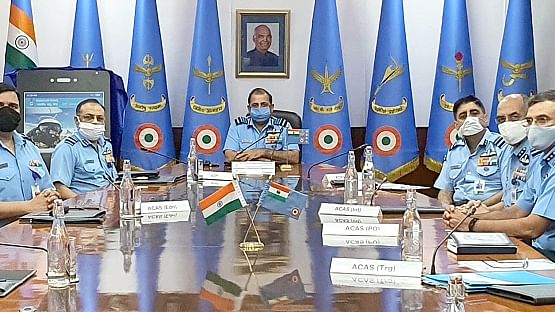 caption: Air Chief Marshal Rakesh Kumar Singh Bhadauria, Chief of the Air Staff along with senior IAF officials during the launch of 'MY IAF'